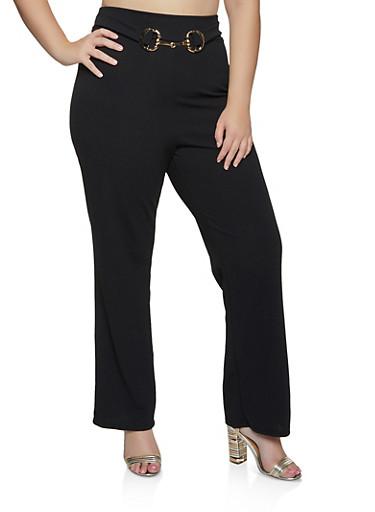 Plus Size Belted Front Dress Pants,BLACK,large