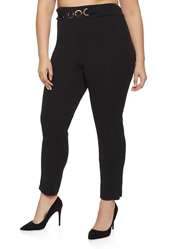 Plus Size Belted Front Crepe Knit Dress Pants,BLACK,large