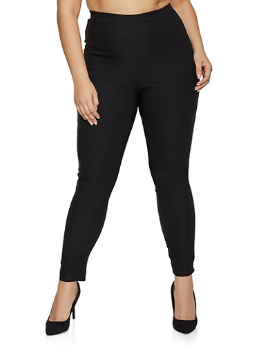 Plus Size Solid Stretch Pull On Dress Pants,BLACK,large