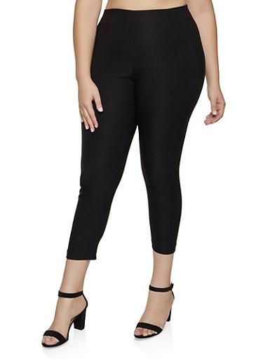 Plus Size Pull On Skinny Dress Pants,BLACK,large