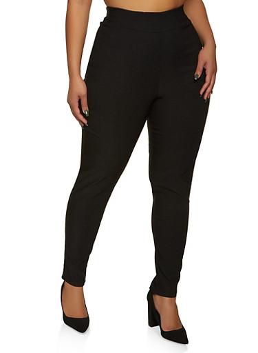 Plus Size Pull On Dress Pants,BLACK,large