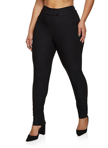 Plus Size Tabbed Waist Dress Pants,BLACK,large
