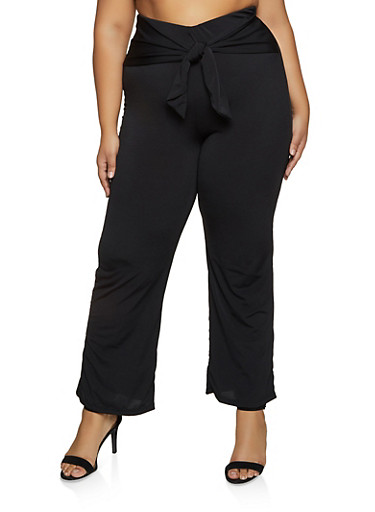 Plus Size Tie Waist Pull On Pants,BLACK,large