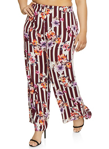 Plus Size Floral Striped Palazzo Pants,WINE,large