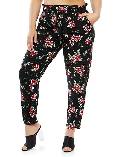 Plus Size Floral Paper Bag Waist Pants,BLACK,large