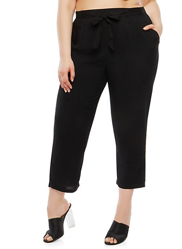 Plus Size Tie Waist Pants,BLACK,large
