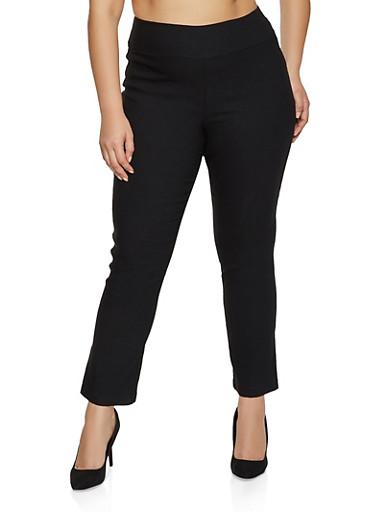 Plus Size Straight Leg Pull On Pants,BLACK,large