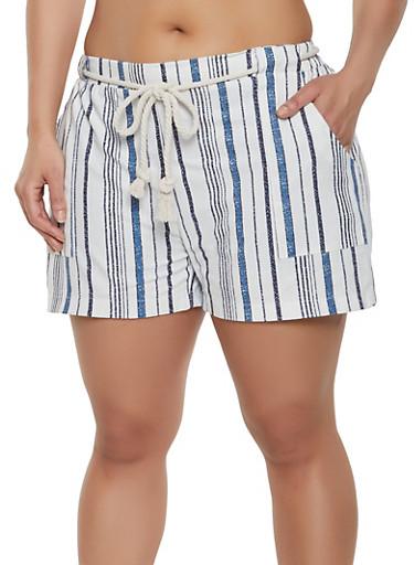 Plus Size Rope Belt Linen Shorts,NAVY,large