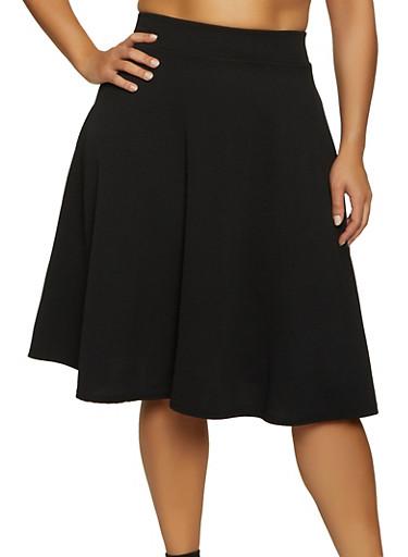 Plus Size Crepe Skater Skirt,BLACK,large