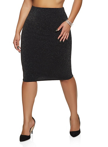 Plus Size Glitter Knit Pencil Skirt,BLACK,large