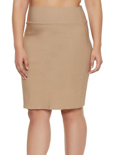 Plus Size Stretch Pencil Skirt | 8444020622526,KHAKI,large