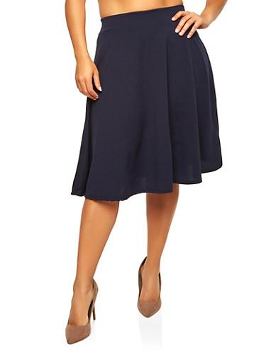 Plus Size Skater Skirt,NAVY,large