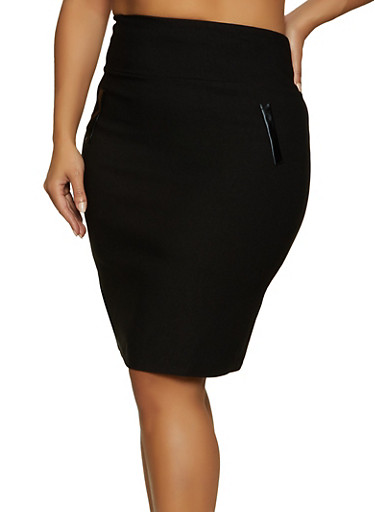 Plus Size Stretch Back Slit Pencil Skirt,BLACK,large