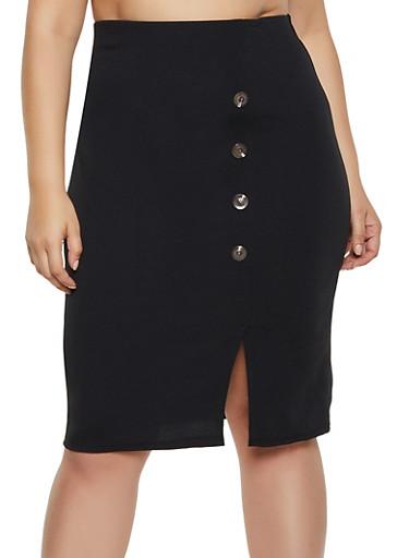Plus Size Button Detail Pencil Skirt,BLACK,large