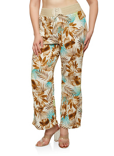 Plus Size Lace Up Floral Pants,TEAL,large