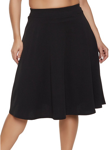 Plus Size Solid Textured Knit Skater Skirt - Rainbow 8988dba31