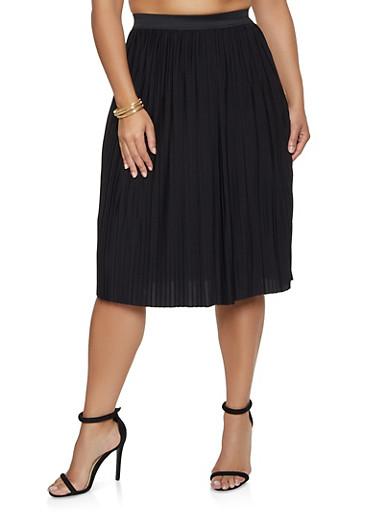 Plus Size Pleated Midi Skater Skirt,BLACK,large