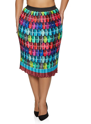 Plus Size Pleated Pencil Skirt,RED,large