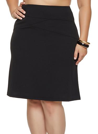 Plus Size Stitching Detail Pencil Skirt,BLACK,large