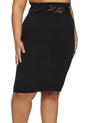 Plus Size Metallic Waist Detail Pencil Skirt,BLACK,large