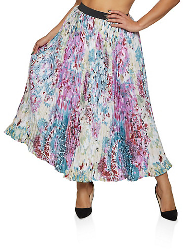 Plus Size Abstract Print Pleated Maxi Skirt,PINK,large