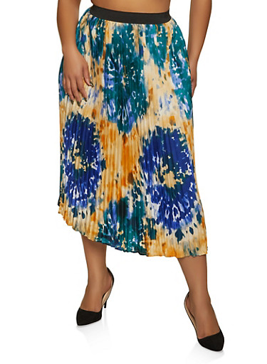 Plus Size Floral Print Pleated Skirt,BLUE,large