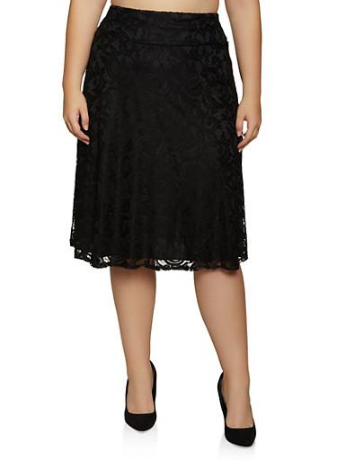 Plus Size Lace Midi Skater Skirt,BLACK,large