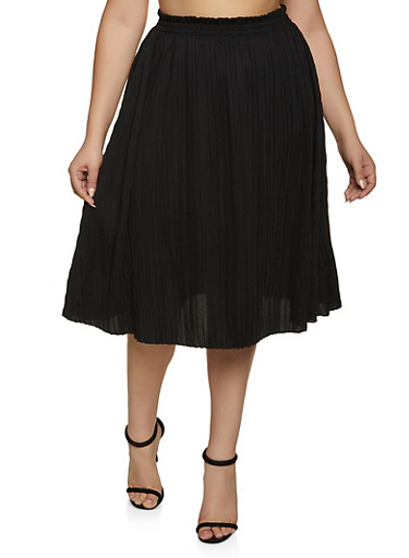 Plus Size Pleated Skirt | 8444062702758,BLACK,large