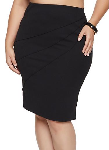 Plus Size Pintuck Pencil Skirt,BLACK,large