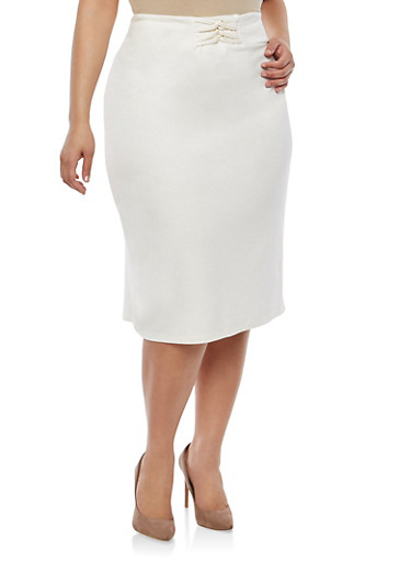 Plus Size Loop Waist Pencil Skirt | Tuggl