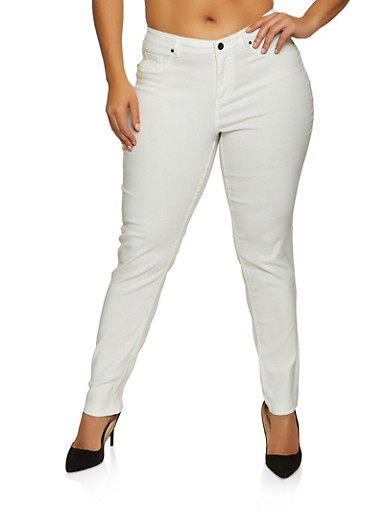 Plus Size Stretch Solid Pants,WHITE,large