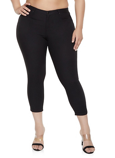 Plus Size Fixed Cuff Jeggings,BLACK,large