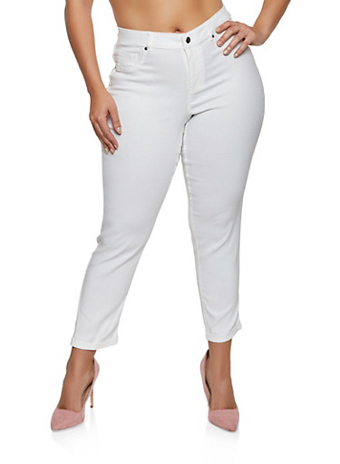 Plus Size Fixed Cuff Stretch Pants,WHITE,large