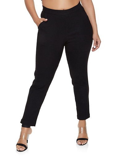 Plus Size Pull On Dress Pants,BLACK,large