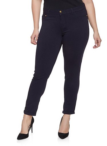 Plus Size Cuffed Push Up Jeans,NAVY,large