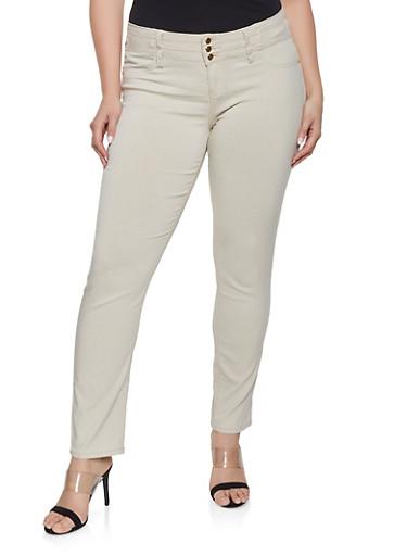 Plus Size 3 Button Hyperstretch Jeans,KHAKI,large