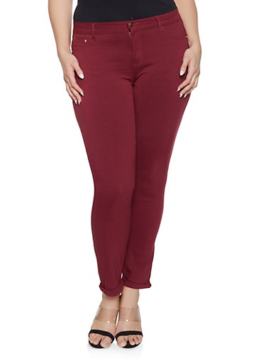 Plus Size Push Up Skinny Jeans,WINE,large