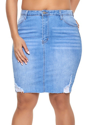 Plus Size WAX Frayed Denim Skirt,LIGHT WASH,large