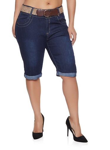 Plus Size Belted Push Up Bermuda Shorts,DARK WASH,large