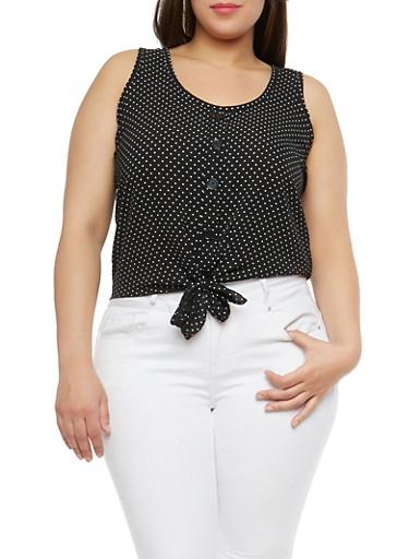 Plus Size Polka Dot Tie Front Top,BLACK,large