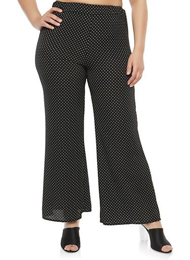 Plus Size Polka Dot Pants,BLACK,large