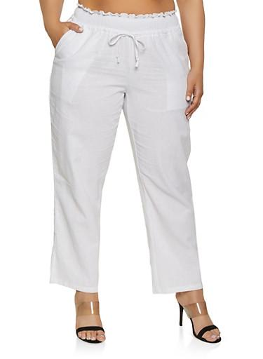 Plus Size Smocked Waist Linen Pants,WHITE,large
