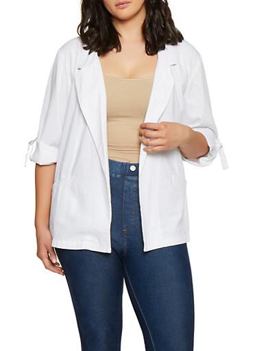 Plus Size Linen Blazer,WHITE,large