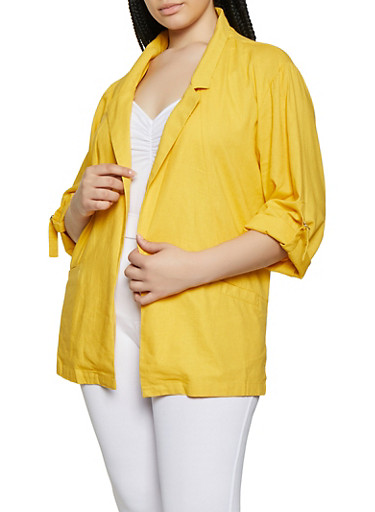 Plus Size Linen Blazer by Rainbow