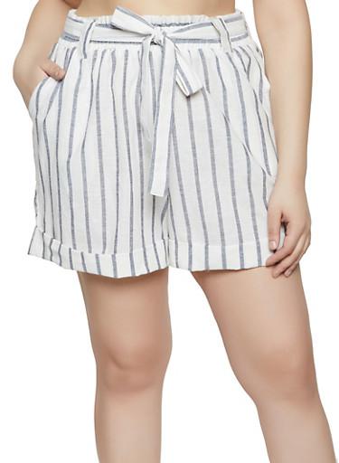 Plus Size Linen Tie Front Shorts,DENIM,large
