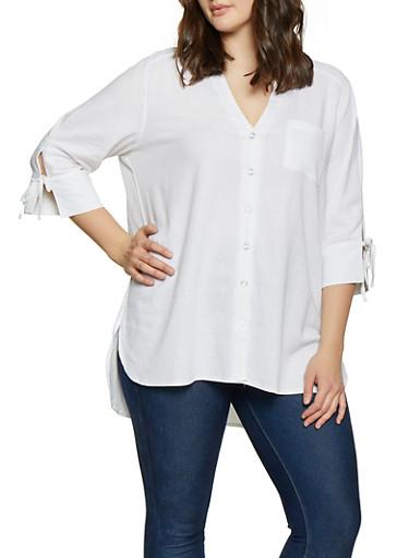 Plus Size Linen Button Front Shirt,WHITE,large