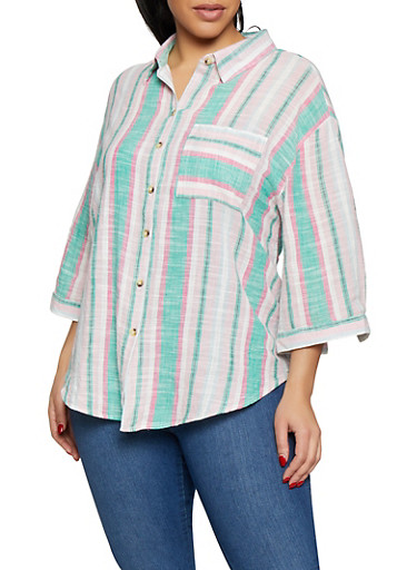 Plus Size Striped Linen Shirt,GREEN,large
