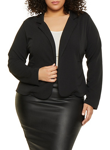 Plus Size Textured Knit Two Pocket Blazer,BLACK,large