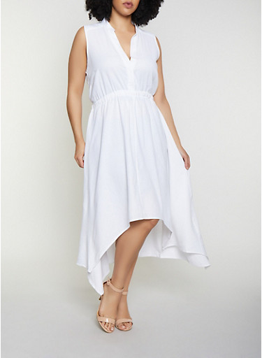 Plus Size High Low Half Button Linen Dress,WHITE,large