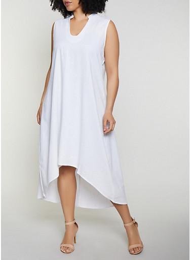 Plus Size High Low Linen Dress,WHITE,large